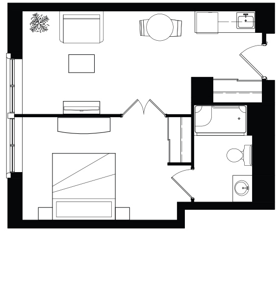AOTA 1 Bed Floorplan