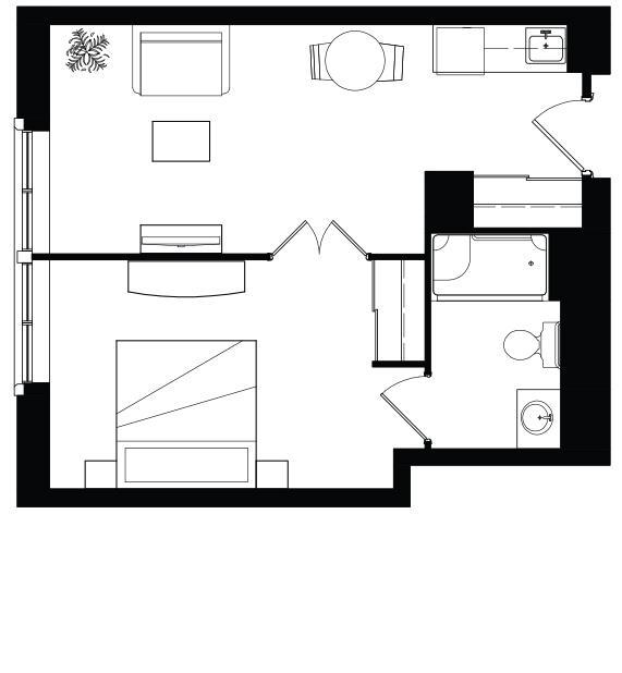 AOTA 1 Bed Floorplan
