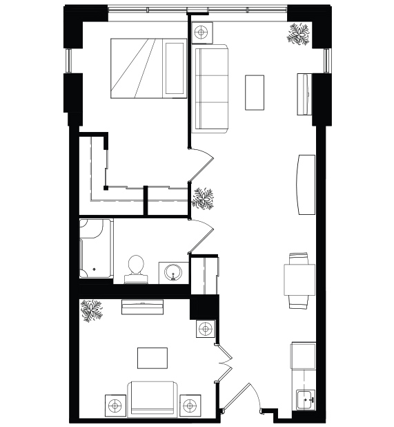 AOTA 1 bed plus den floorplan