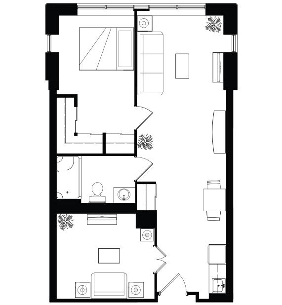 AOTA 1 bed plus den floorplan
