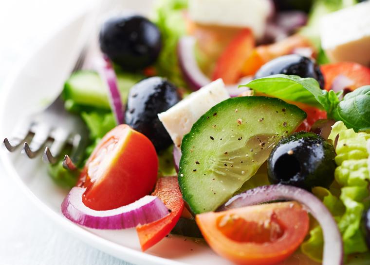 Greek salad for dining at Amica senior living residence.