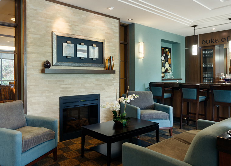 Pub lounge at Amica Westboro Park senior residence.