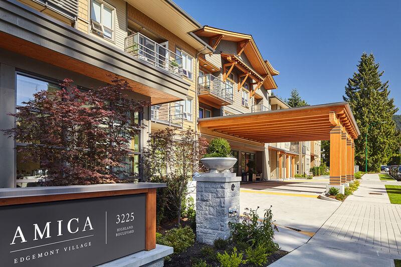 Exterior building view of Amica Edgemont senior living residence.