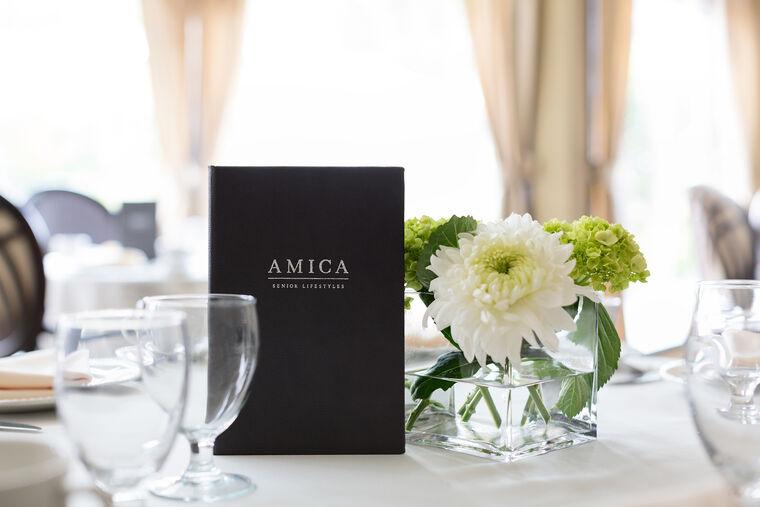 Main dining room at Amica Douglas House senior living residence.