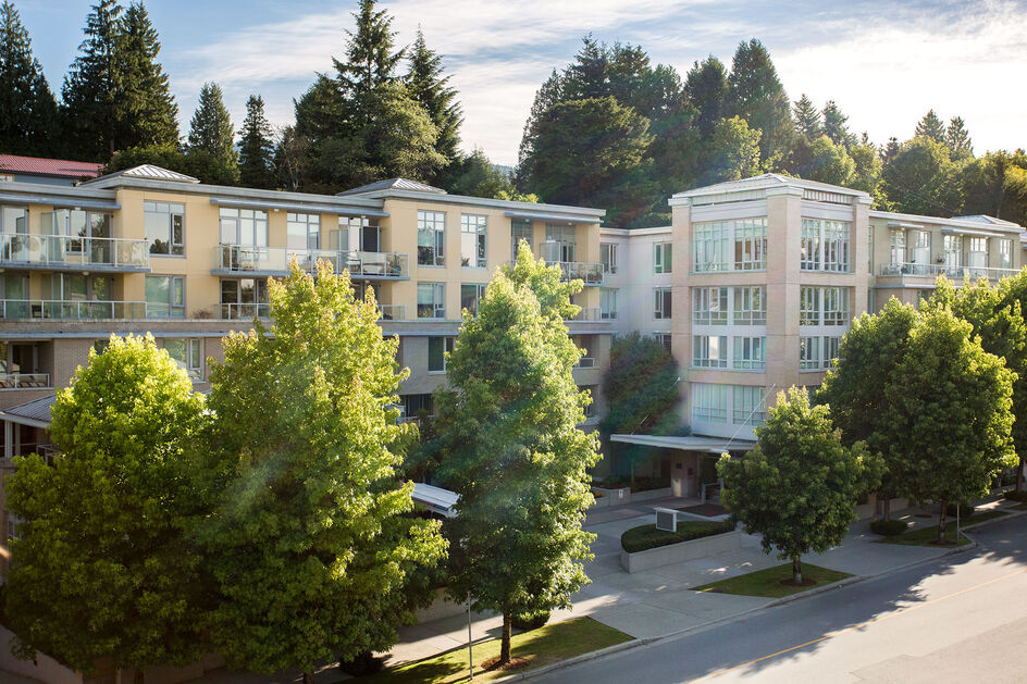 Exterior building view at Amica West Vancouver senior living residence.