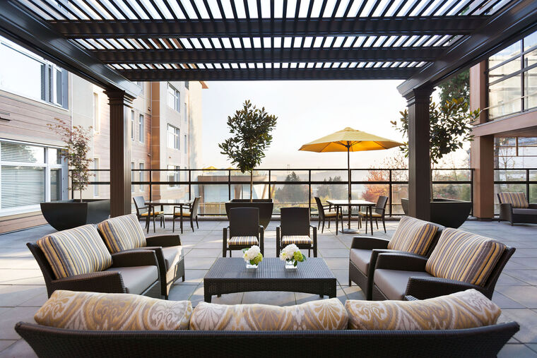Patio terrace at Amica Lions Gate senior living residence.