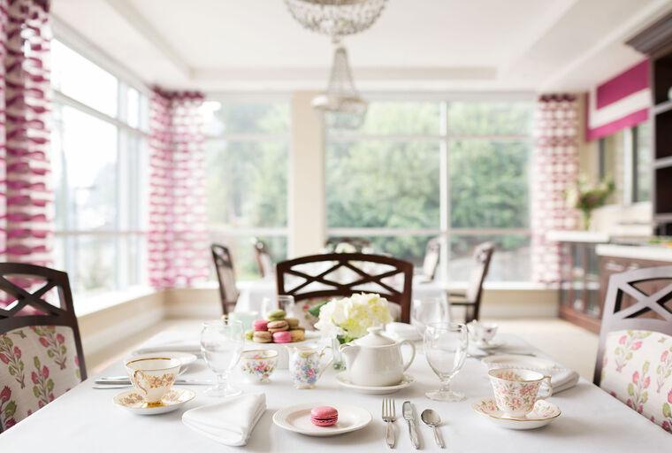 Tea room at Amica Lions Gate senior living residence.