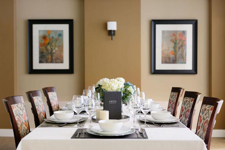 Private dining room at Amica Britannia senior living residence.