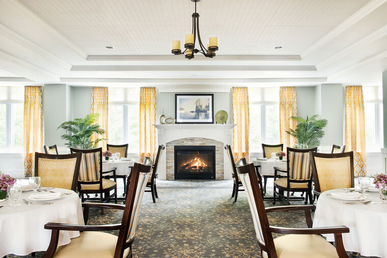 Main dining room area at Amica Little Lake senior living residence.