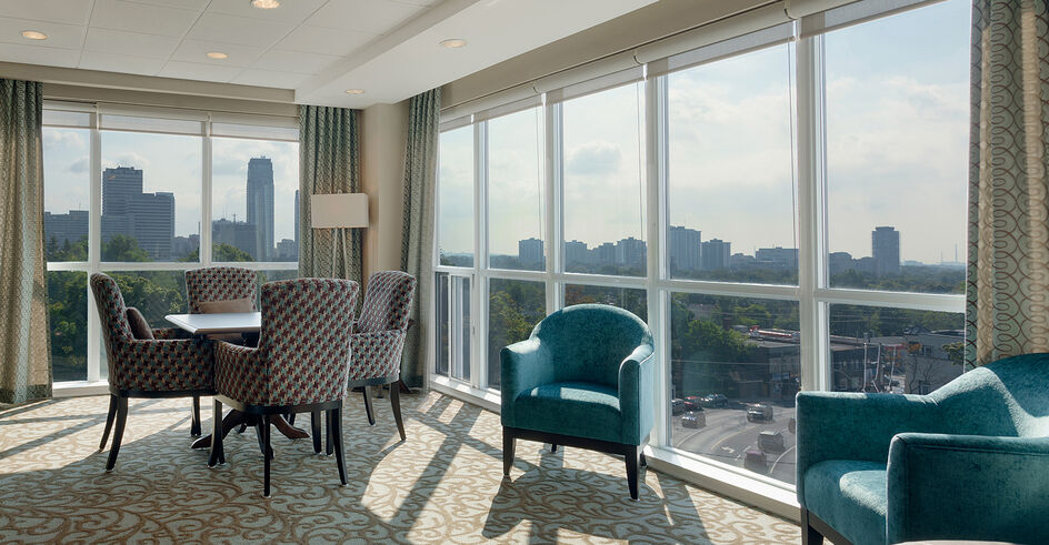 Beautiful skyline view at Amica On the Avenue senior retirement residence.