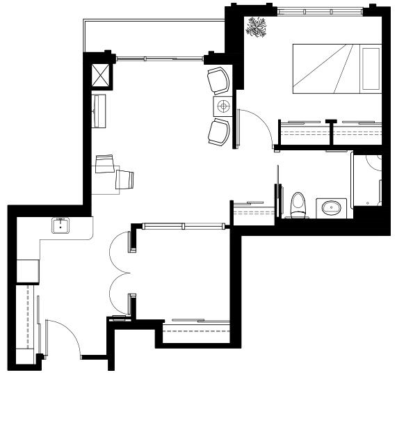 One bedroom plus den floor plan