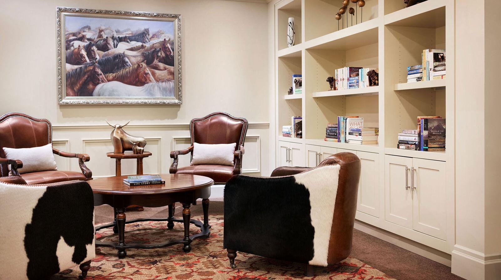 Library room at Amica Aspen Woods retirement living for seniors.