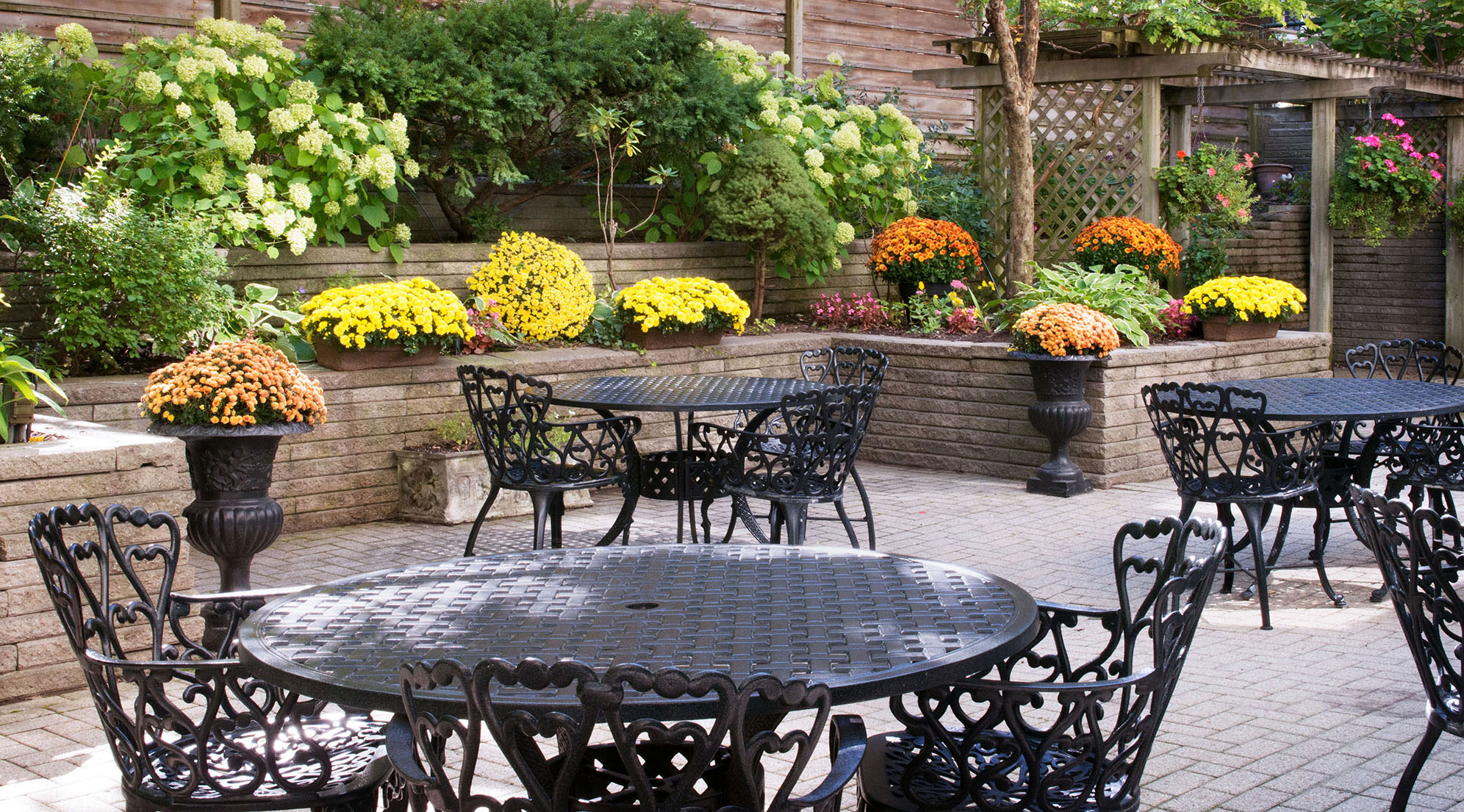 Outdoor patio at Amica Balmoral Club senior living residence.