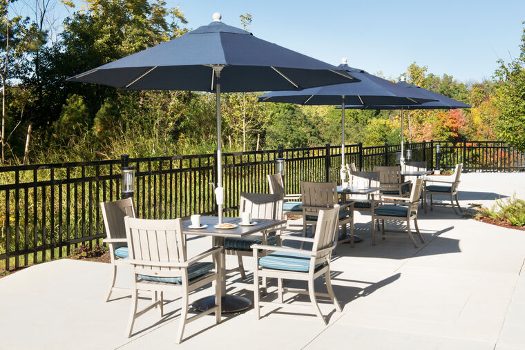 Outdoor patio at Amica Peel Village senior living residence.