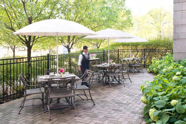 Garden patio at Amica Westboro Park.
