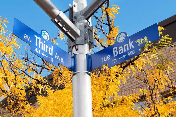 Street signs in Ottawa's The Glebe Neighbourhood