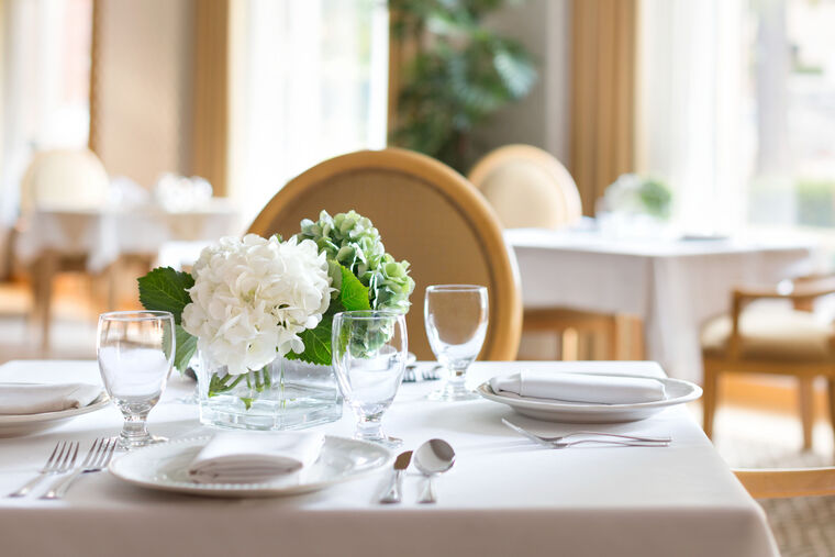 A close view of one of the tables at the dining room of Amica Erin Mills.