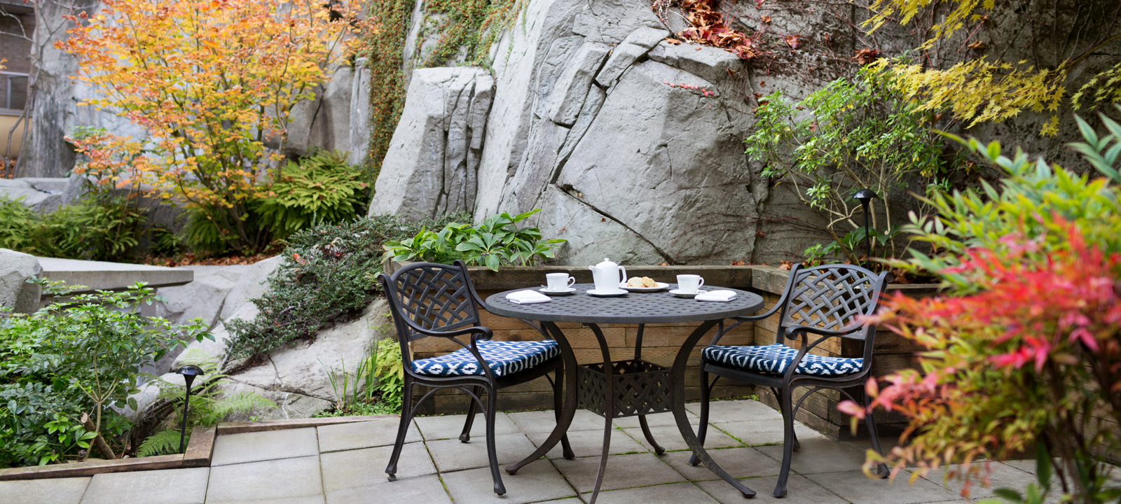 Pond courtyard at Amica West Vancouver senior living residence.
