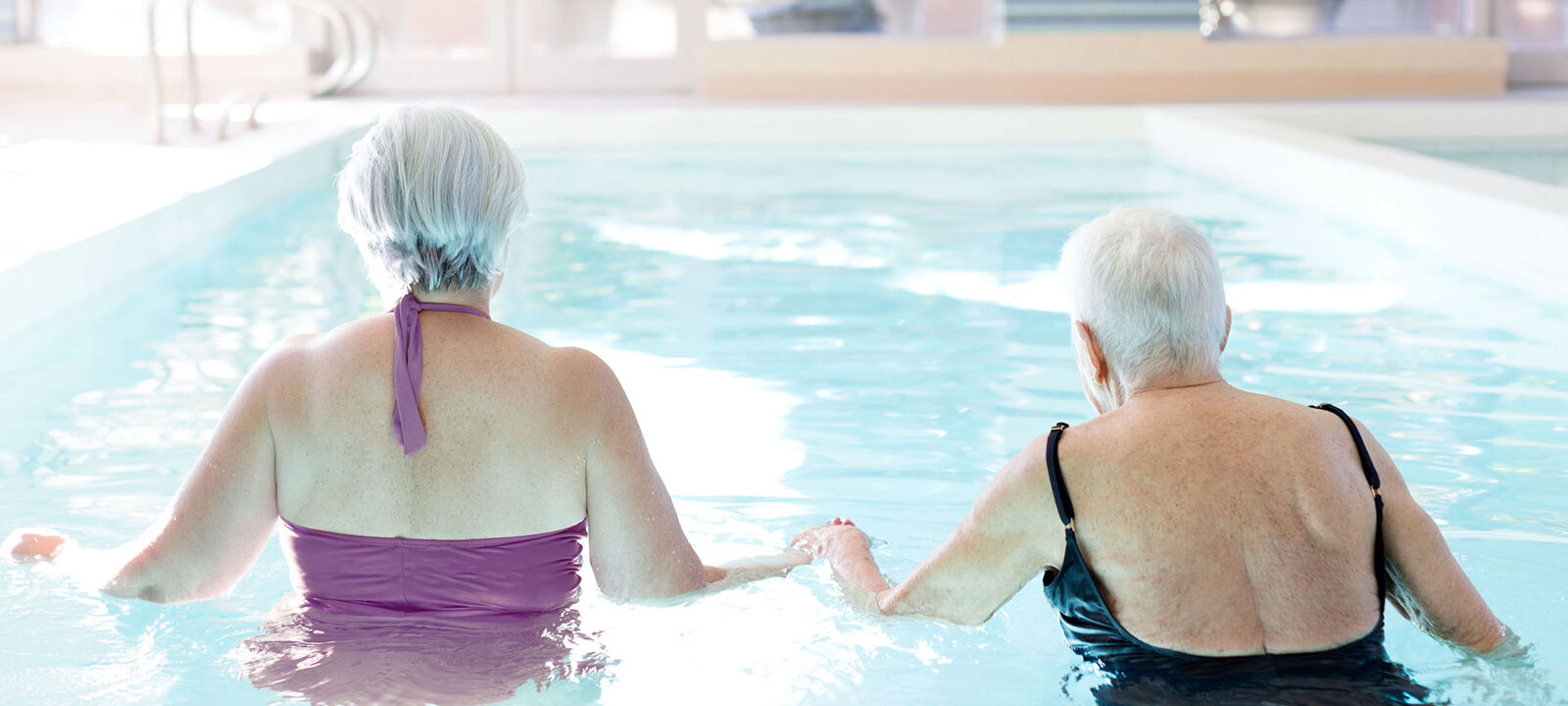 Indoor swimming pool at Amica West Vancouver senior retirement residence.