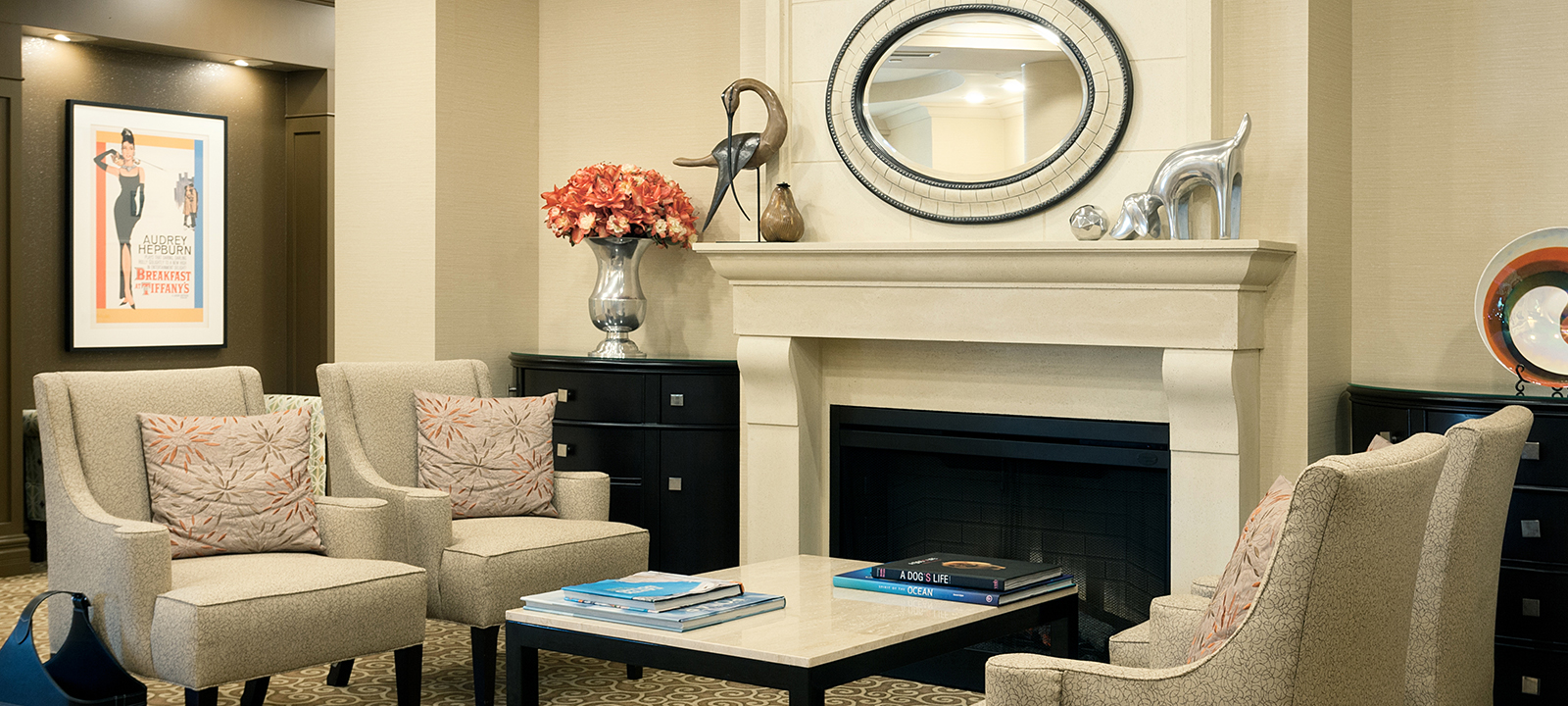 Fireside lounge at Amica Whitby senior living residence.