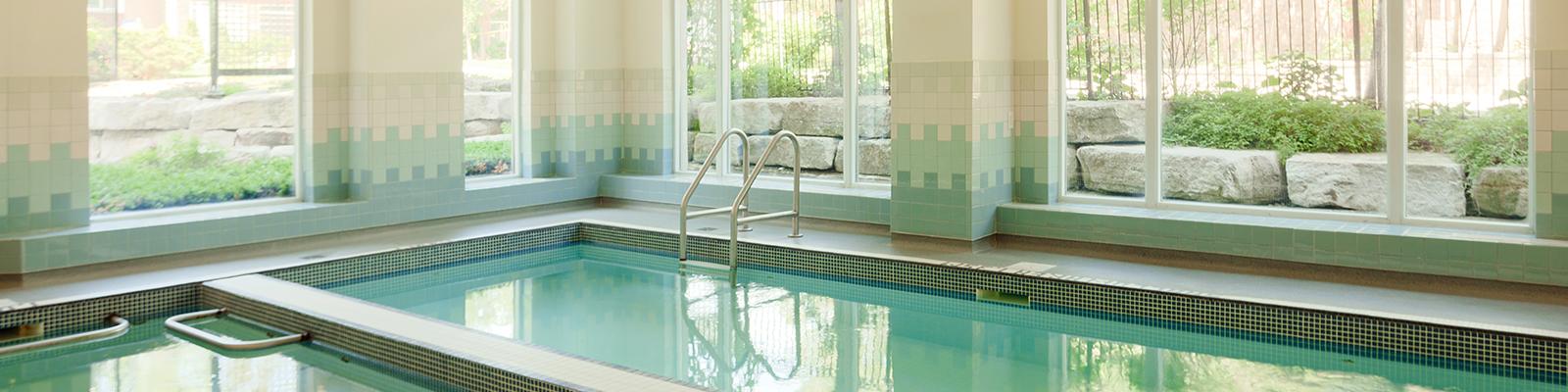 Saltwater pool at Amica Bayview Gardens senior retirement residence.