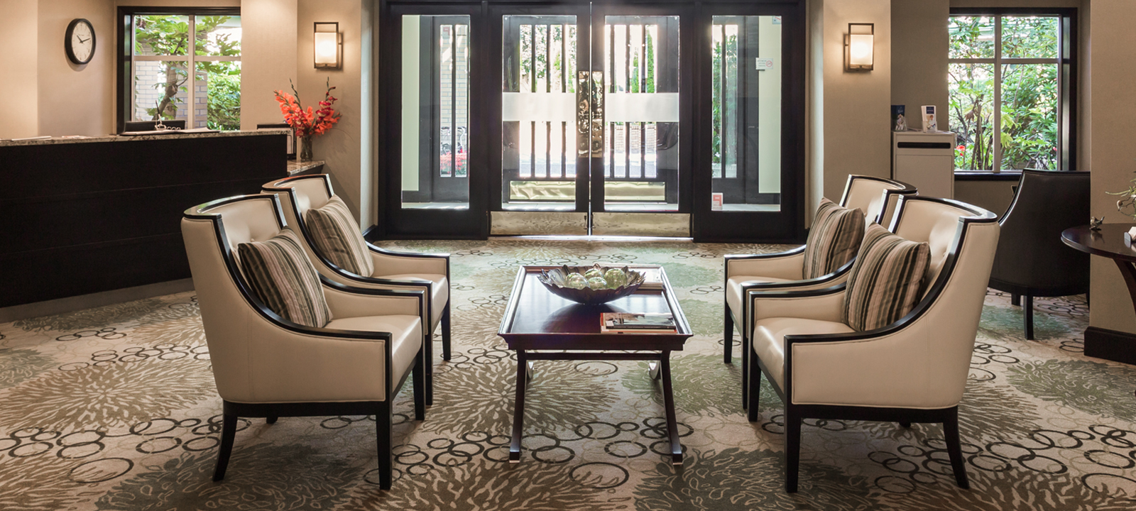Main lobby at Amica Beechwood Village senior living residence.