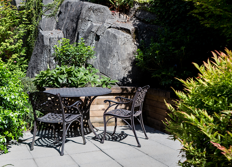 Amica West Vancouver senior retirement residence outdoor patio table.
