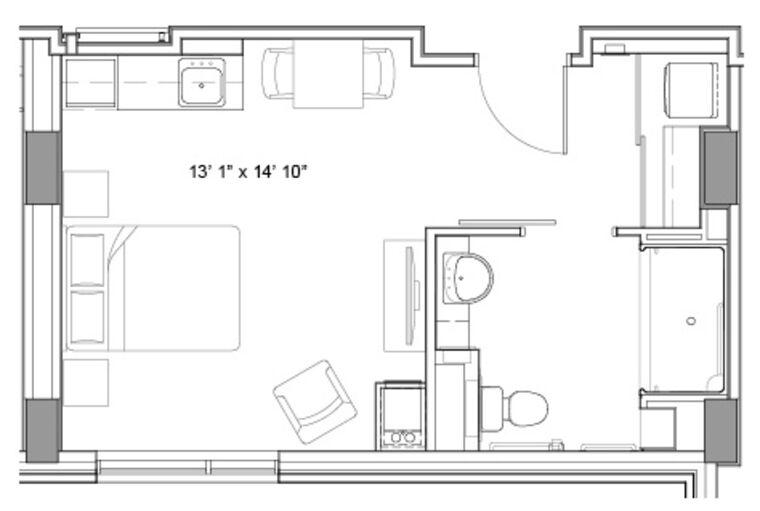 TheGlebe_Studio_IL_Floorplan