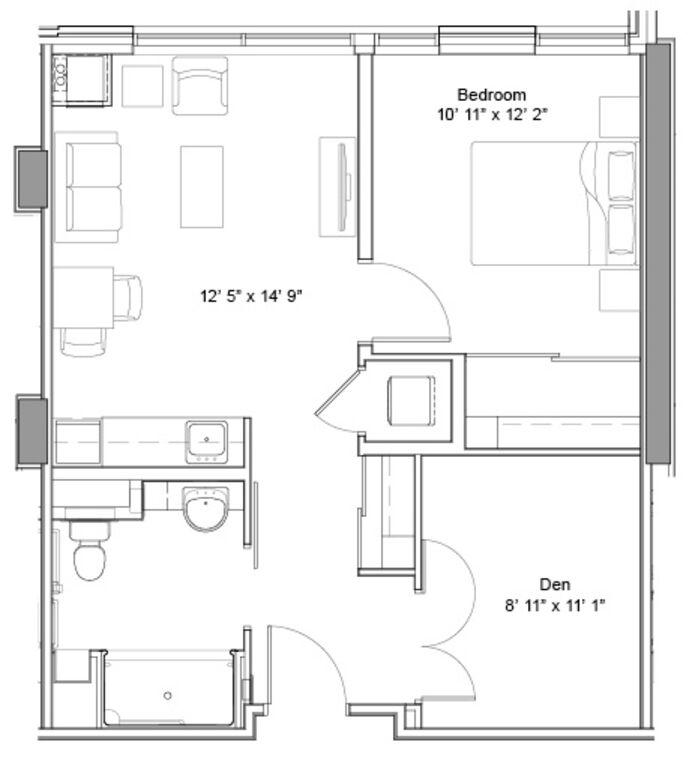 TheGlebe_OneBedDen_IL_Floorplan