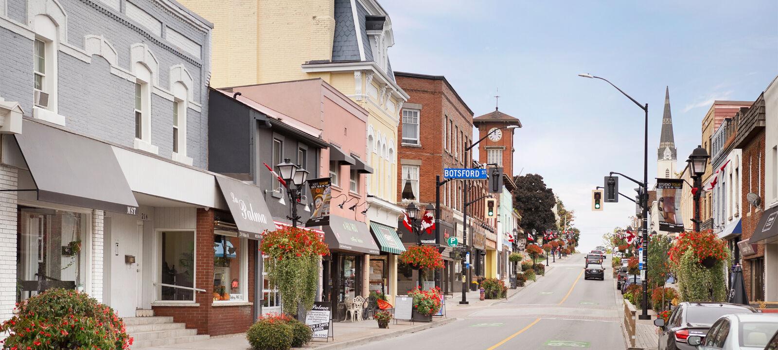 Shops along Newmarket's Main Street