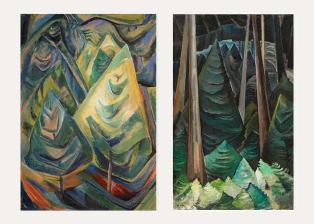 Emily Carr, Old and New Forest, 1931-32, oil on canvas, Collection of the Vancouver Art Gallery, Emily Carr Trust and Emily Carr, Untitled,1931-32, oil on paper, Collection of the Vancouver Art Gallery, Emily Carr Trust.