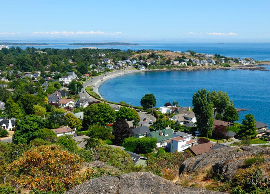 Walbran Park look out overlooking McNeill Bay near Oak Bay, Victoria, British Columbia