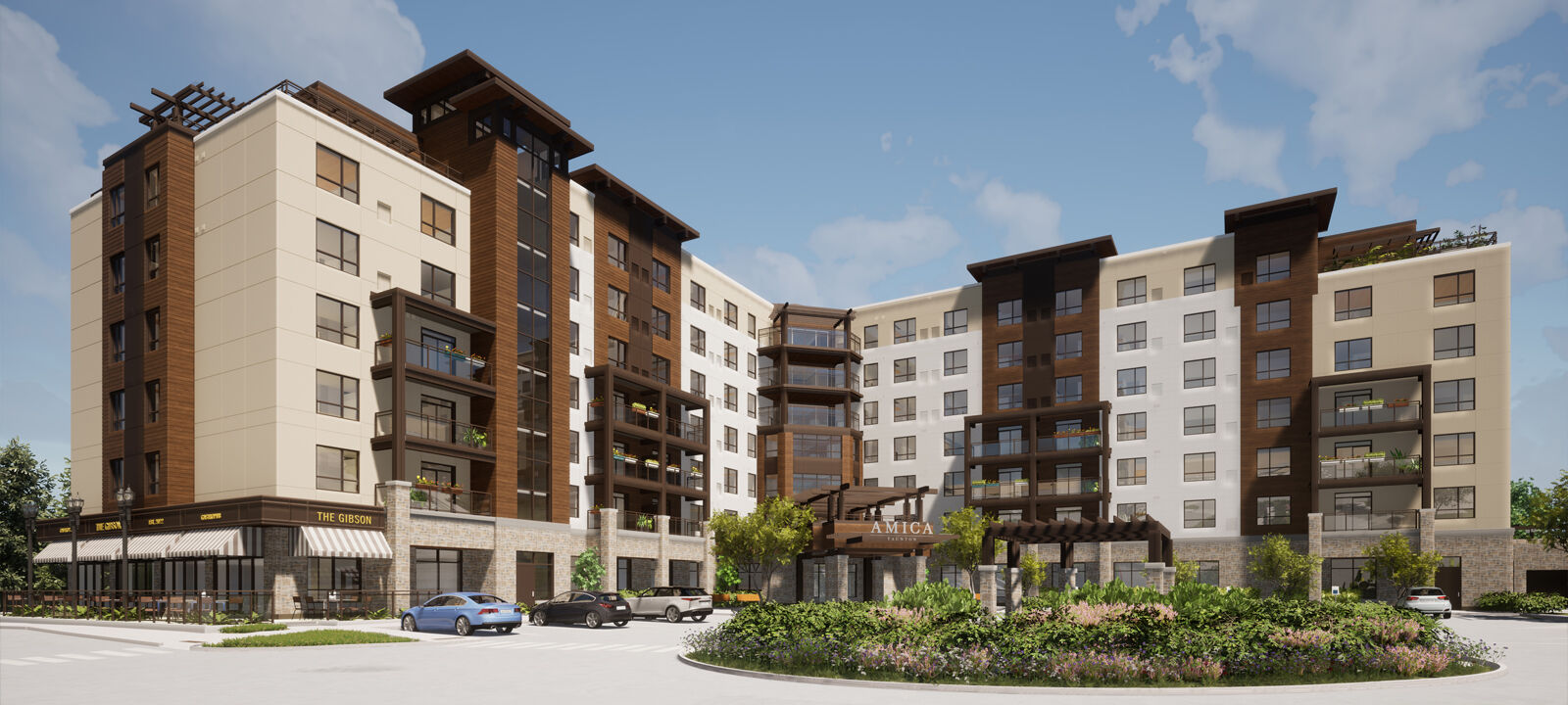 Thoughtfully designed to fit with the neighbourhood, life at Amica Taunton starts with a beautiful and accessible retirement residence in Whitby complete with private suites and townhomes and premium amenities and services. Exterior rendering of Amica Taunton