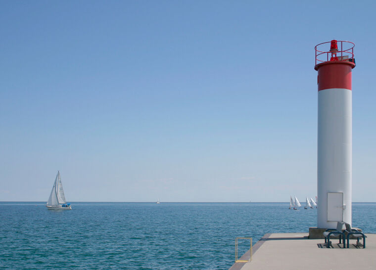 View of a lighthouse in Whitby, along the lakeshore of Ontario, Canada