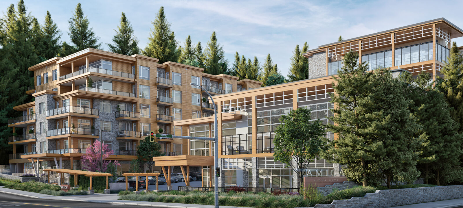 Rendering of the exterior of the Amica Lions Gate expansion project.