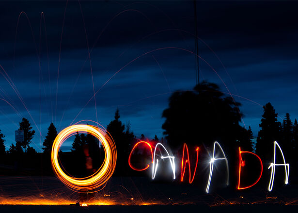 The word O Canada made with light painting technique