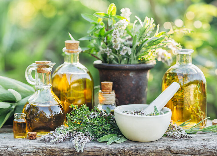 Herbs and pots with natural medicine