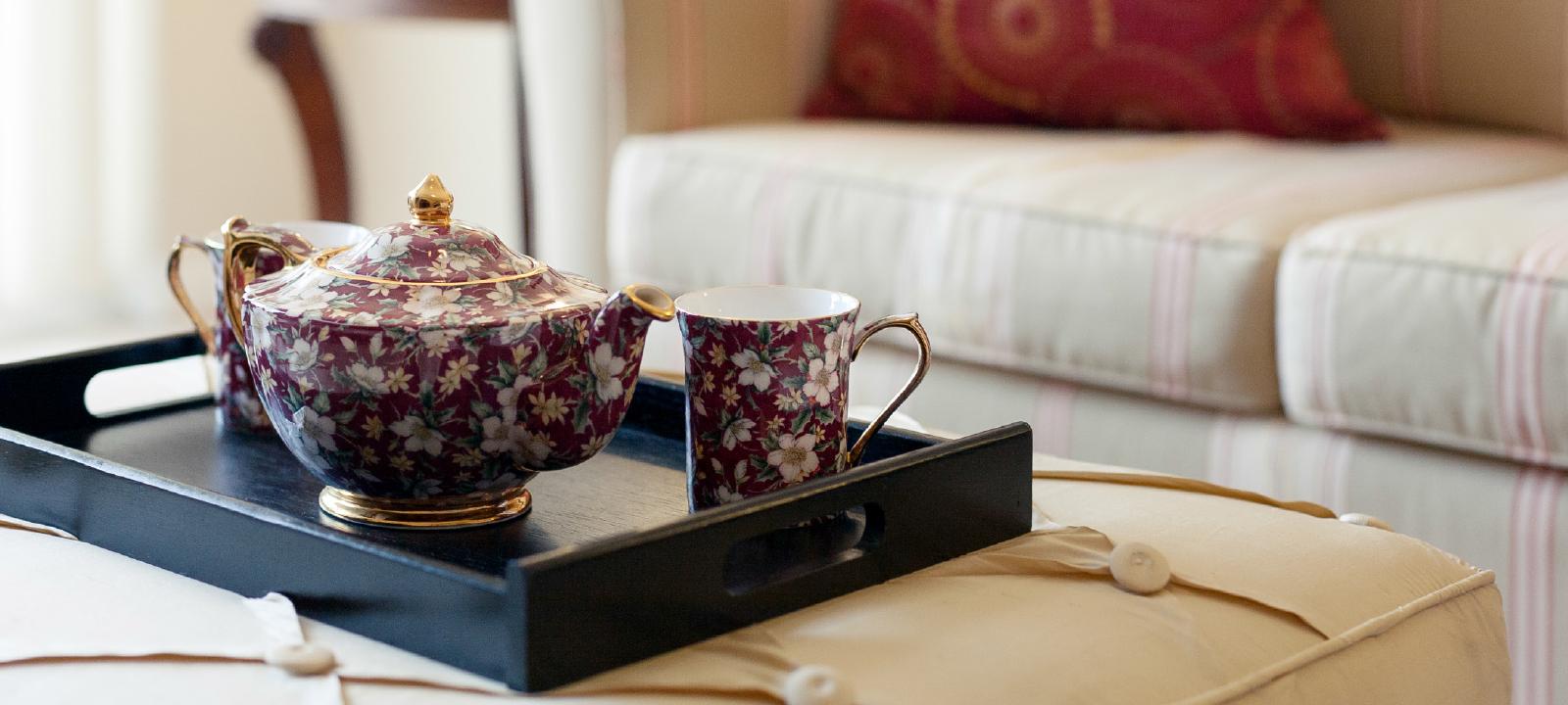 Amica City Centre senior living residence tea pot set.