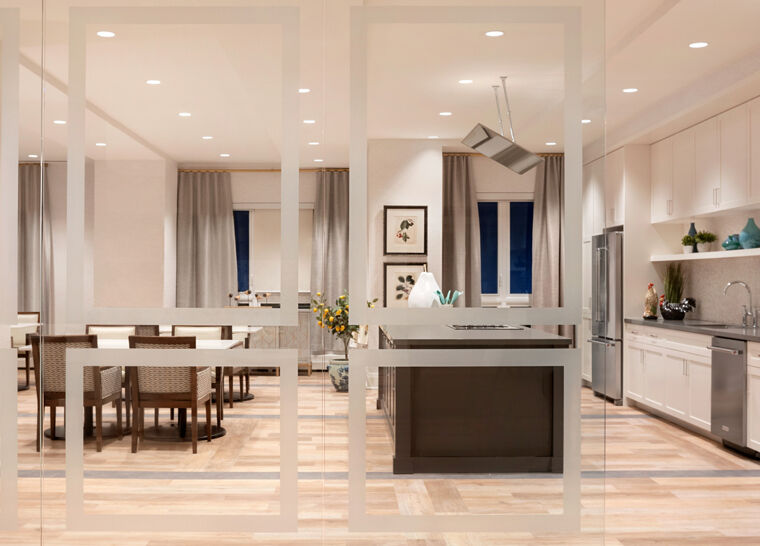 Amica Swan Lake senior living residence kitchen from the new renovation