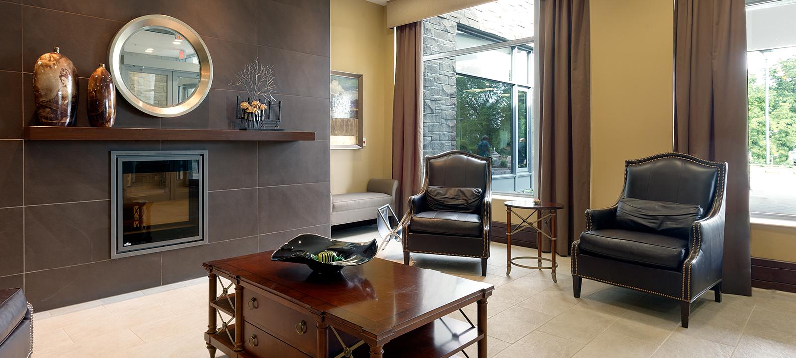 Common lounge at Amica Riverside senior living residence.