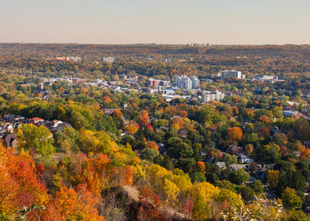 View of Dundas, Hamilton from the Niagara Escarpment, Ontario, Canada.