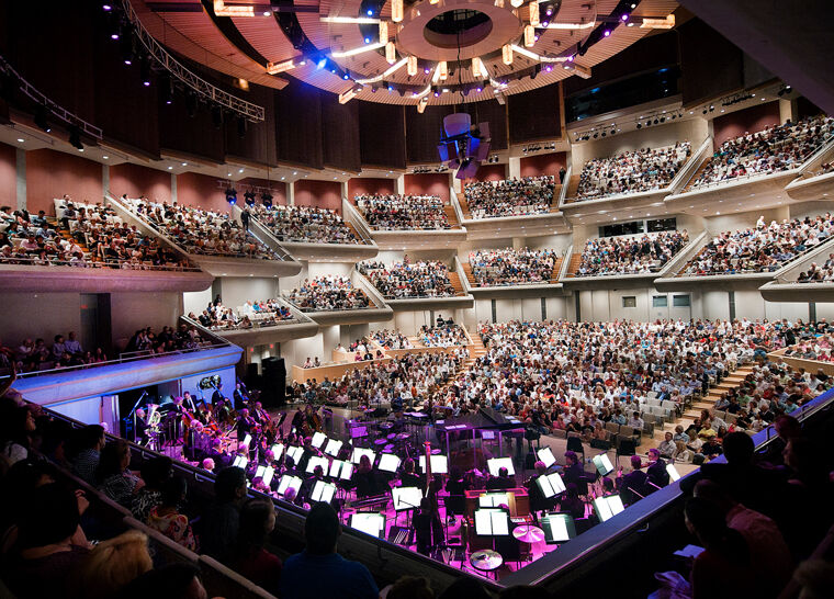 An interior shot of Roy Thomson Hall during a concert