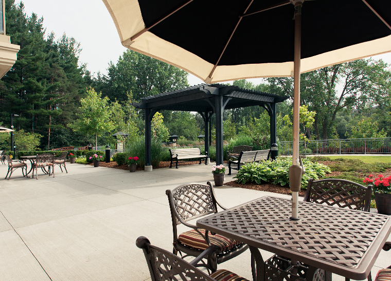 Outdoor patio at Amica London senior living residence.
