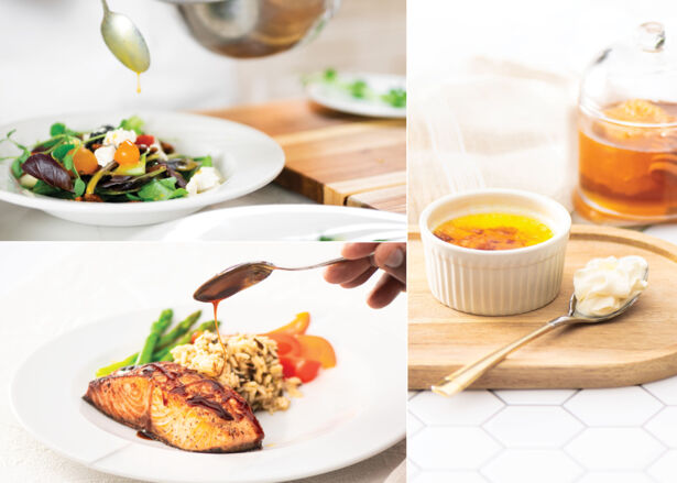 A collage of our Alveole honey salad, salmon and creme brulee recipes.