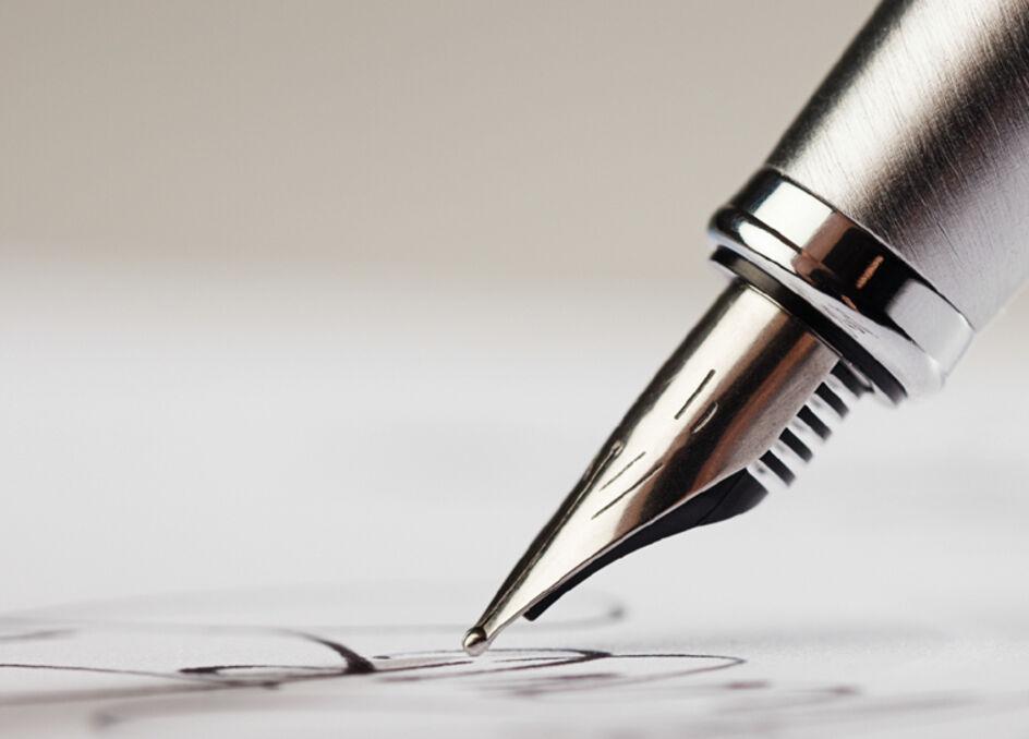 Sleek grey fountain pen.
