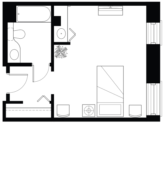 Floor plan of our Studio apartment