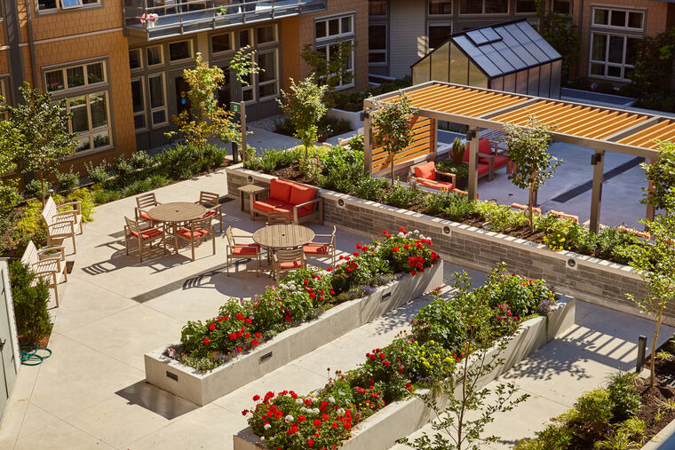 Aerial garden view at Amica Edgemont senior living residence.
