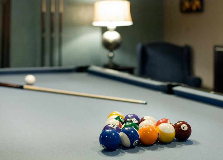Billiard table at Amica Thornhill senior retirement residence.