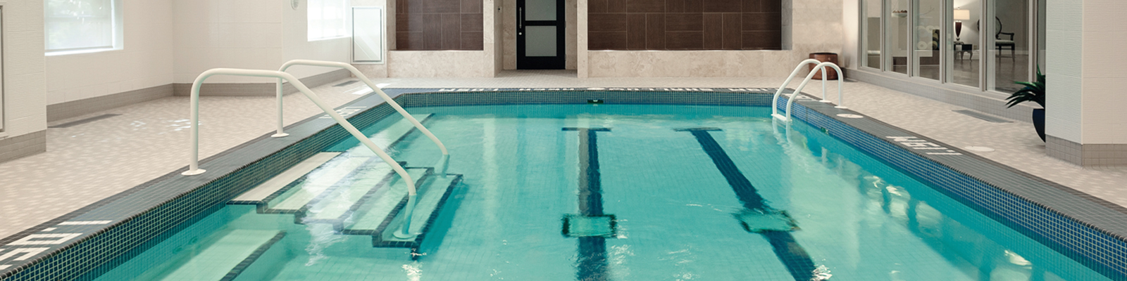 Amica Thornhill senior living residence indoor swimming pool. 375x500 banner.