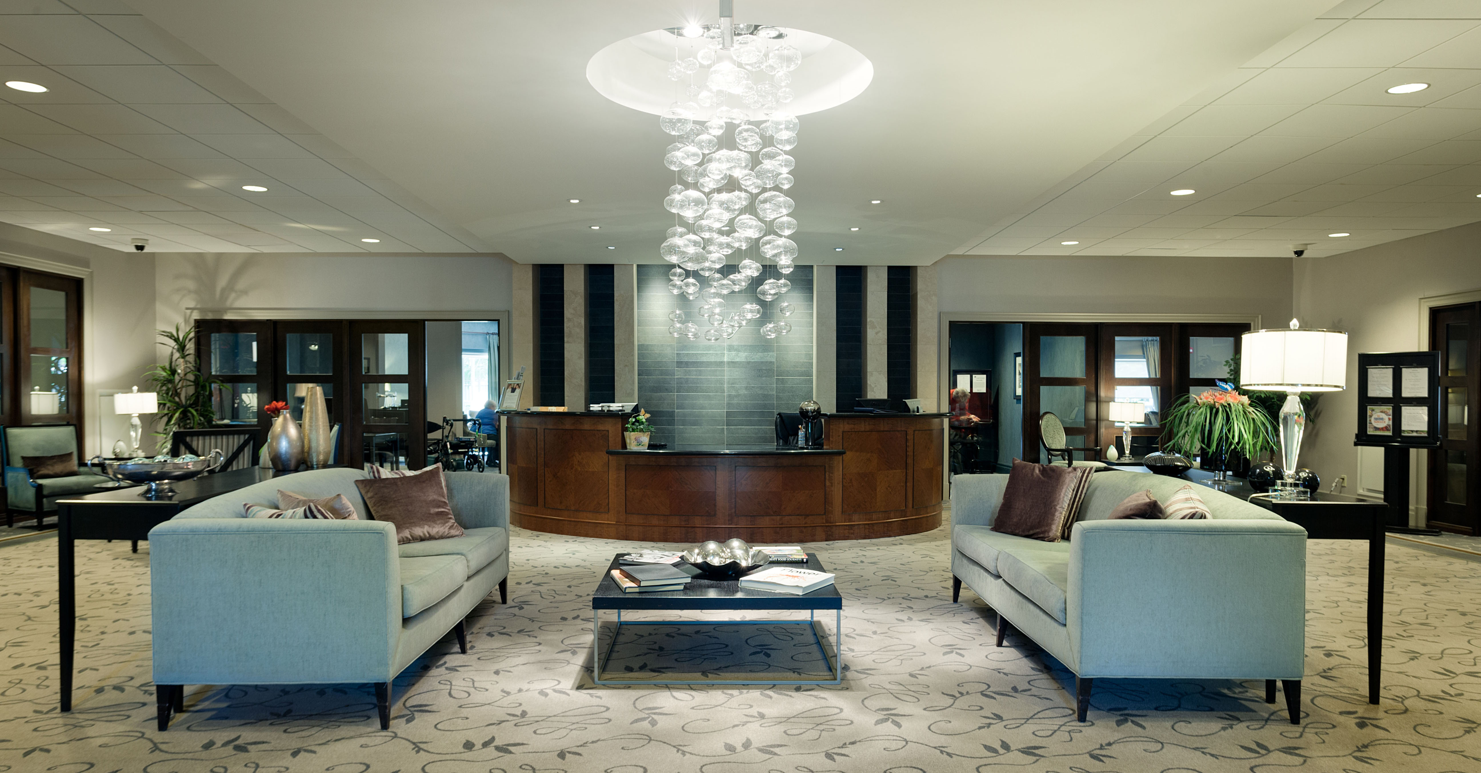Lobby area at Amica Thornhill senior living residence.